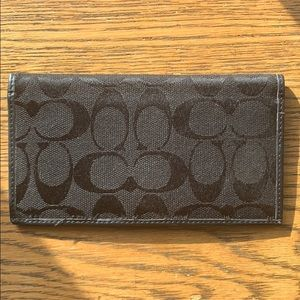 Coach Signature Monogram Canvas/Leather Checkbook